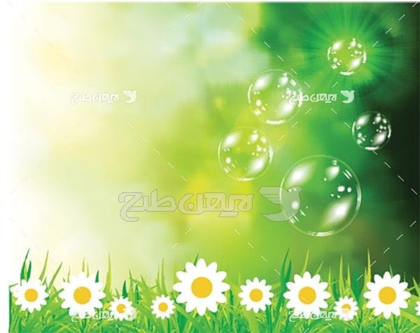وکتور حباب و گل بابونه