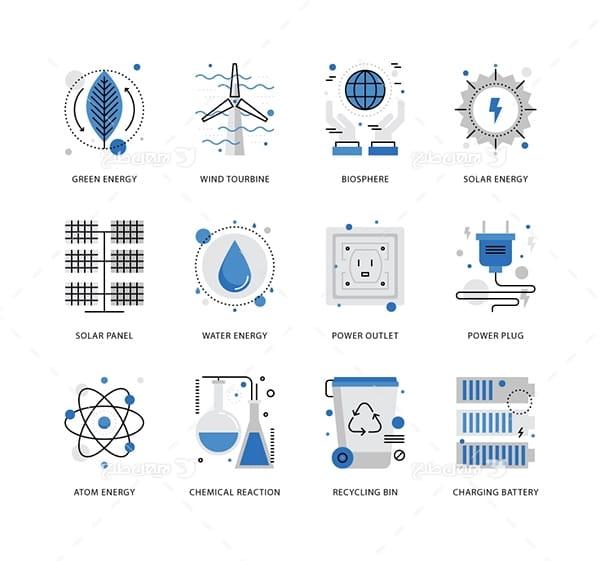 طرح وکتور آیکن با موضوع انرژی پایدار