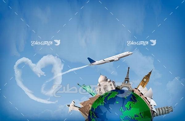 تصویر هواپیما و مکان های گردشگری در جهان