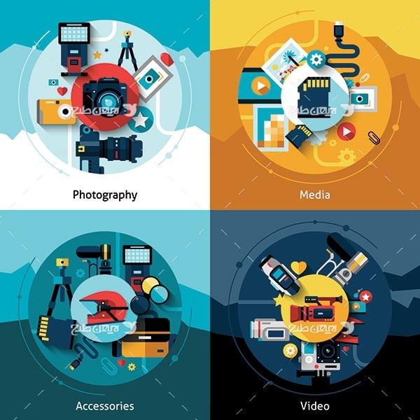 طرح وکتور گرافیکی فیلم سازی و عکاسی