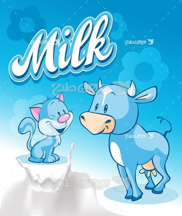 وکتور شیر و گاو و گربه