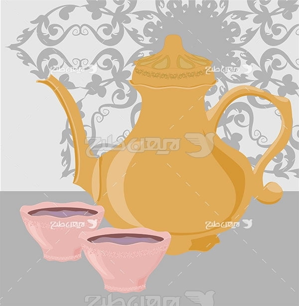 وکتور مواد غذایی قوری ، چای ، قند