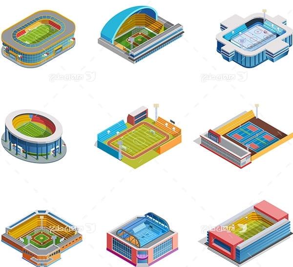 طرح گرافیکی وکتور سه بعدی ورزشگاه