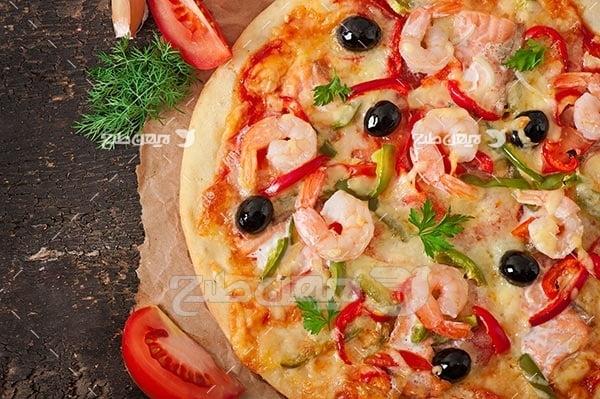 تصویر با کیفیت از پیتزا میگو