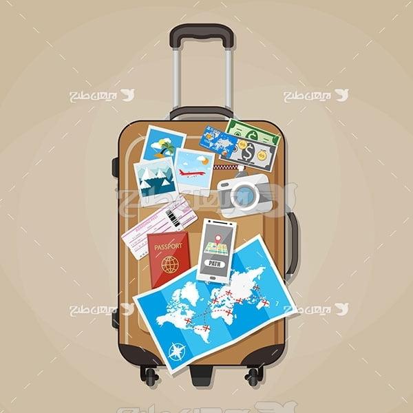 وکتور چمدان مسافرت و گردشگری