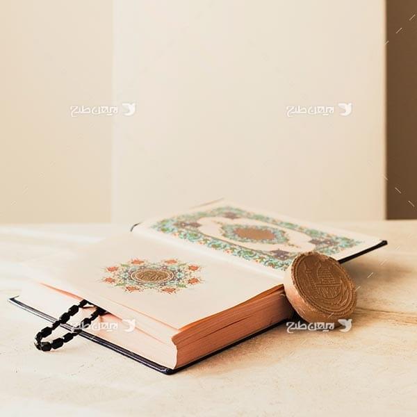 تصویر با کیفیت از قرآن، تسبیح و مهر