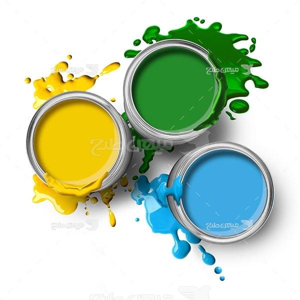 عکس رنگ سطل آبی زرد و سبز