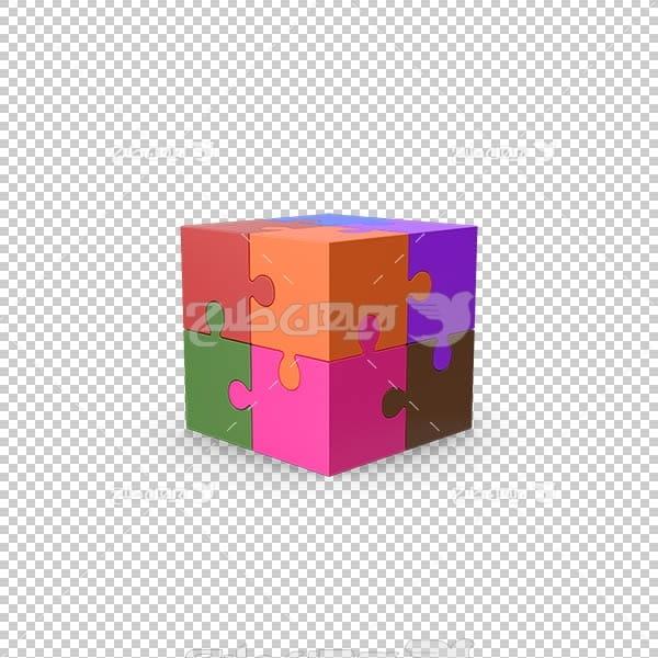 تصویر سه بعدی دوربری مکعب رنگی