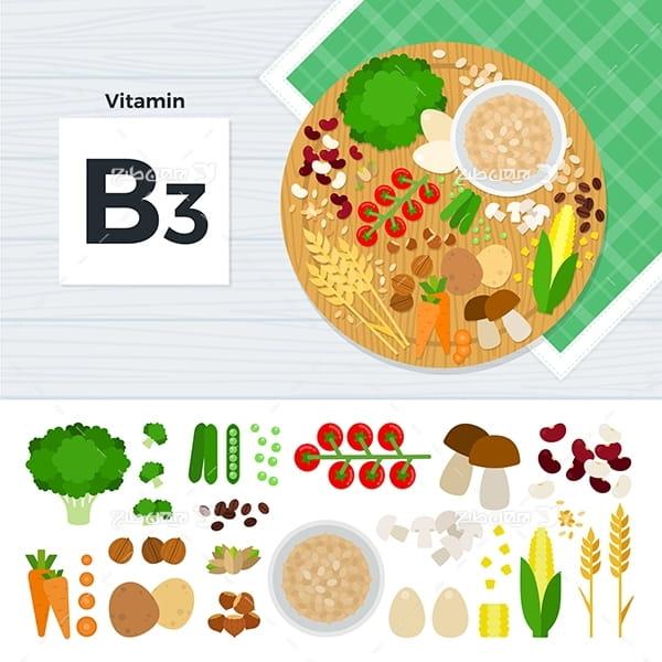 طرح وکتور گرافیکی مواد غذایی با موضوع ویتامین بی