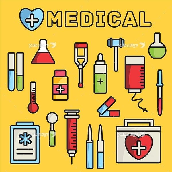 وکتور آیکن های گرافیکی پزشکی و درمان
