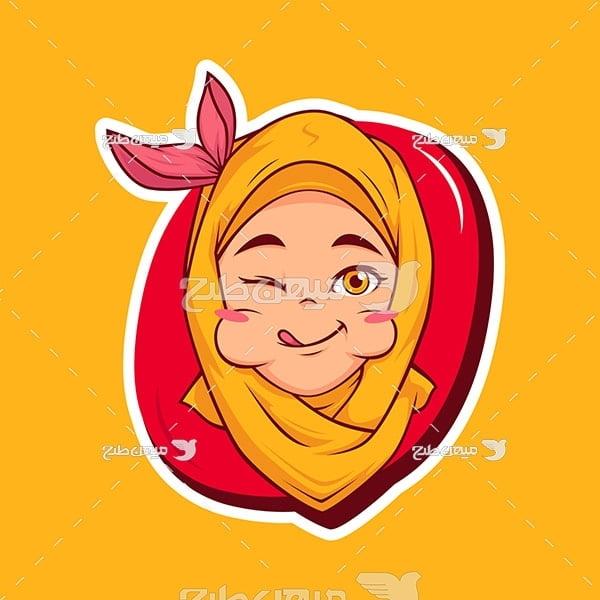 وکتور دختر مسلمان و خوردن غذا