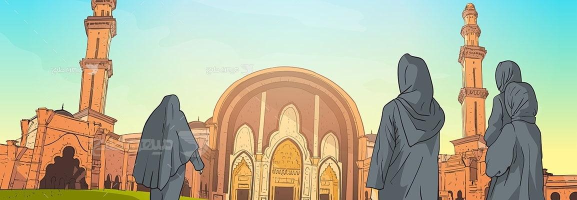 وکتور کاراکتر حجاب در مسجد