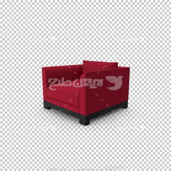 تصویر دوربری سه بعدی مبل قرمز