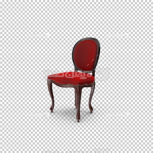 تصویر دوربری سه بعدی صندلی قرمز مخمل