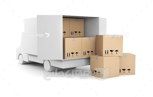 عکس کامیون جعبه و باربری