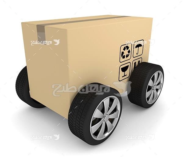 عکس کامیون جعبه و باربری و بار