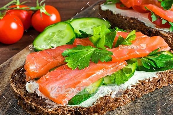 گوشت ماهی و گوجه فرنگی و خیار سبز