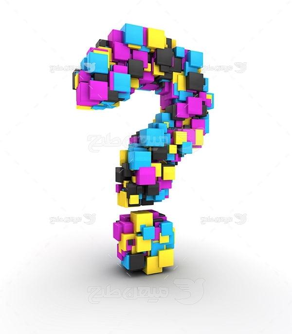 عکس نماد رنگ چاپ و تبلیغات CMYK به صورت علامت سوال