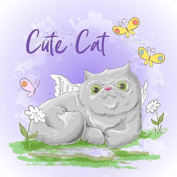 وکتور کارتونی گربه