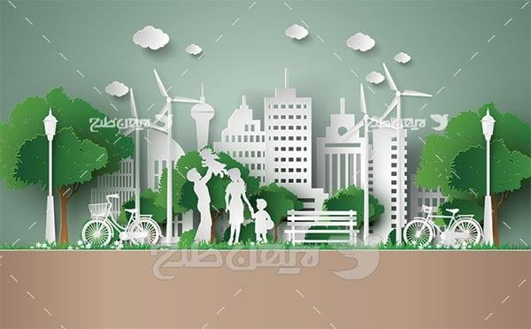 وکتور تولید انرژی از طبیعت و شهر پاک و سرسبز