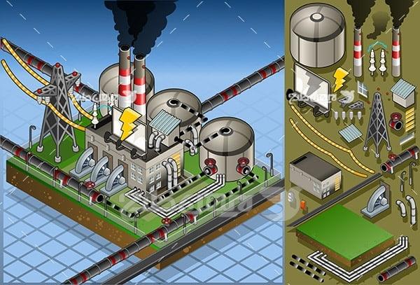 وکتور سه بعدی نیروگاه برق ، کارخانه صنعتی