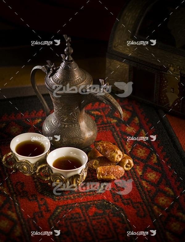 عکس چای و خرما