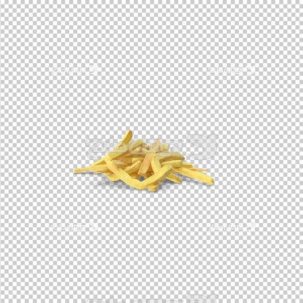 تصویر دوربری سه بعدی سیب زمینی سرخ کرده