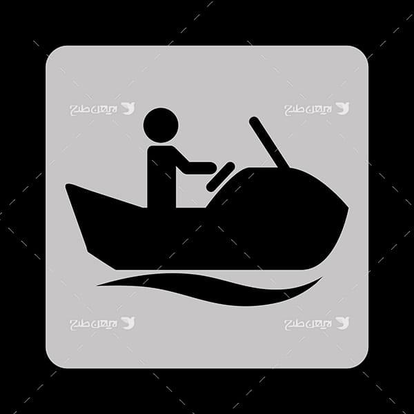 طرح وکتور گرافیکی با موضوع ورزش قایقرانی