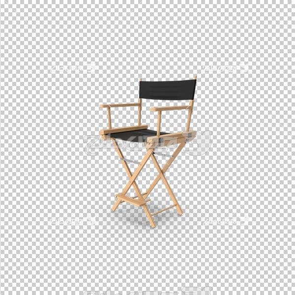 تصویر دوربری سه بعدی صندلی چوبی