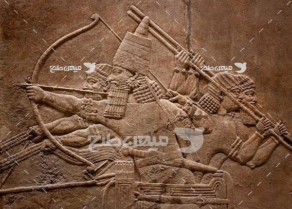 عکس سنگ نگاره جنگ باستانی