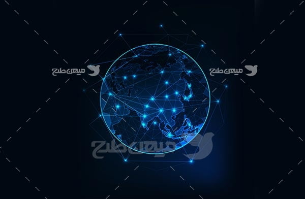 وکتور نقشه دیجیتالی ایران در کره زمین