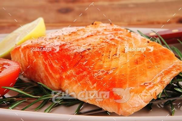 ماهی،گوشت ماهی,غذای کباب ماهی سبزیجات