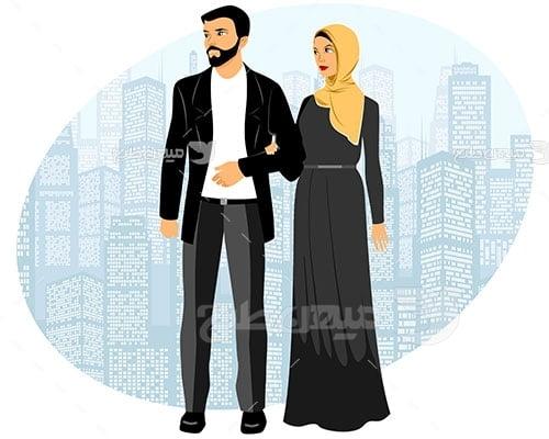 وکتور کاراکتر حجاب و پرتره زن و شوهر