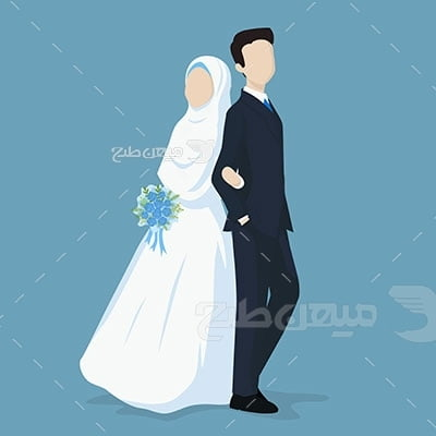 وکتور کاراکتر حجاب آواتار عروس داماد