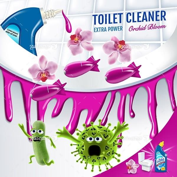 طرح وکتور تبلیغ مایع تمیز کننده دستشویی و توالت، میکروب زدایی