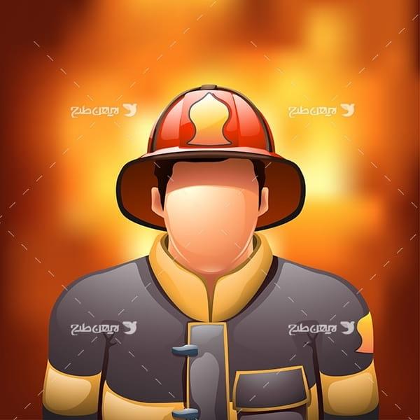 طرح وکتور مامور آتشنشانی