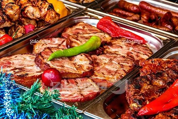 کباب و گوشت ماهی و فلفل