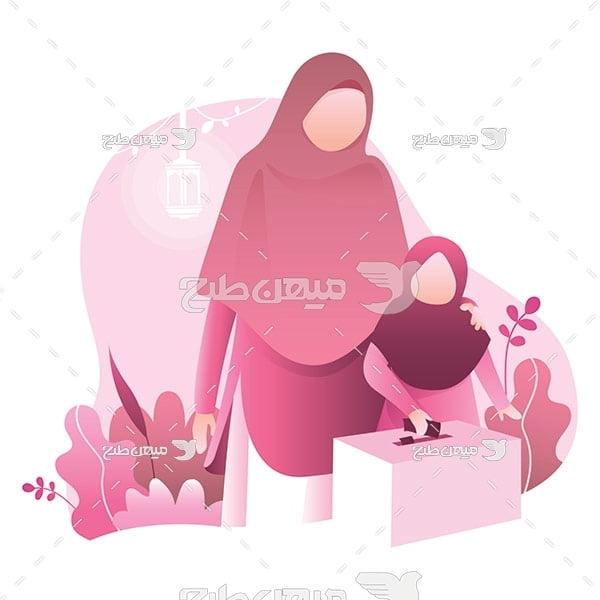 وکتور صندوق رای و مادر و دختر