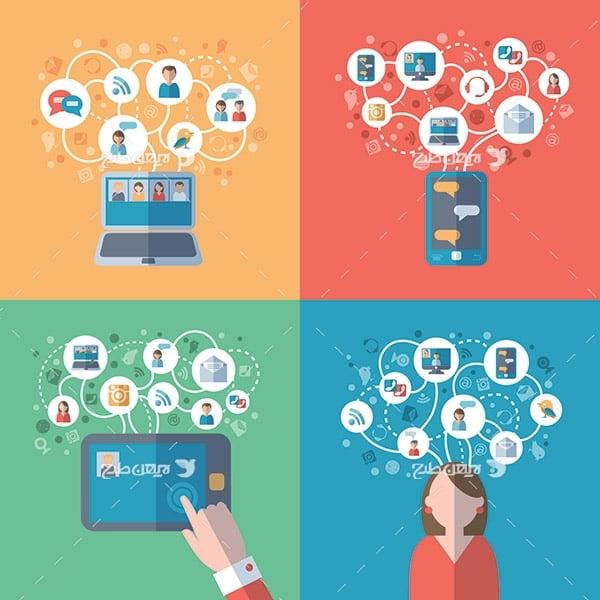 طرح وکتور تجارت آنلاین و انسان
