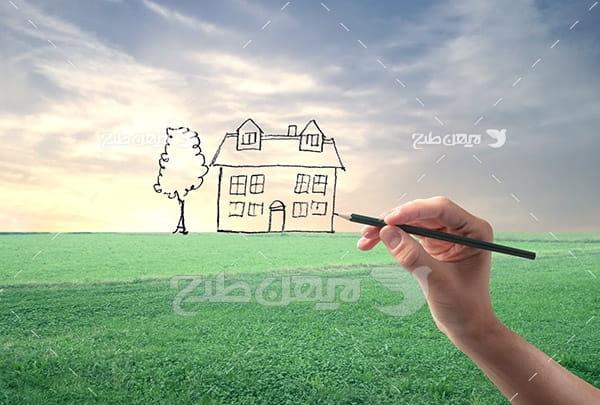 طراحی خانه و منظره و چمن