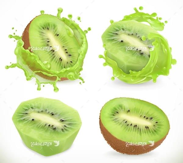 طرح وکتور گرافیکی با موضوع میوه کیوی