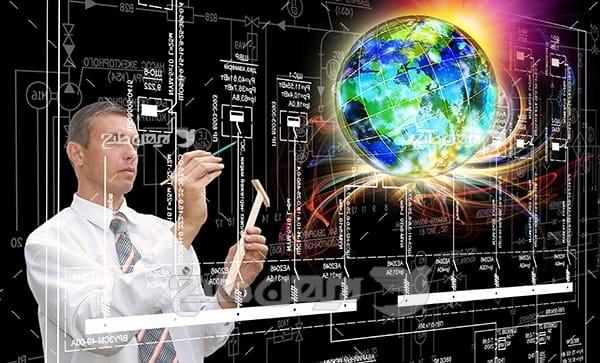 عکس دیجیتالی انسان و کره زمین