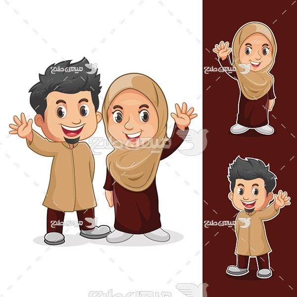 وکتور مرد و زن مسلمان