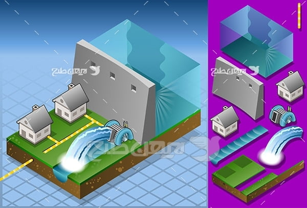 وکتور تولید برق از سد برای خانه ها