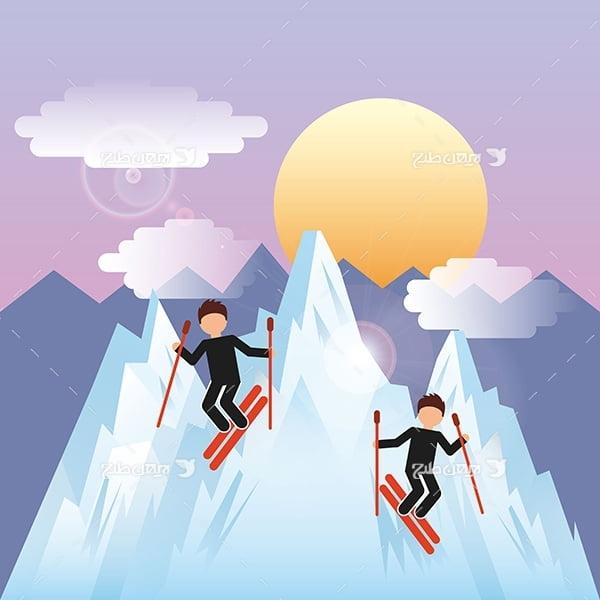 طرح وکتور گرافیکی با موضوع ورزش اسکی