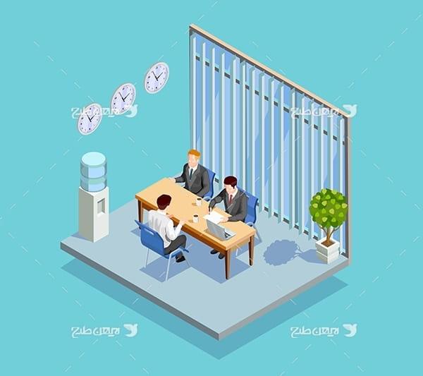 طرح وکتور سه بعدی مصاحبه با فرد جهت استخدام