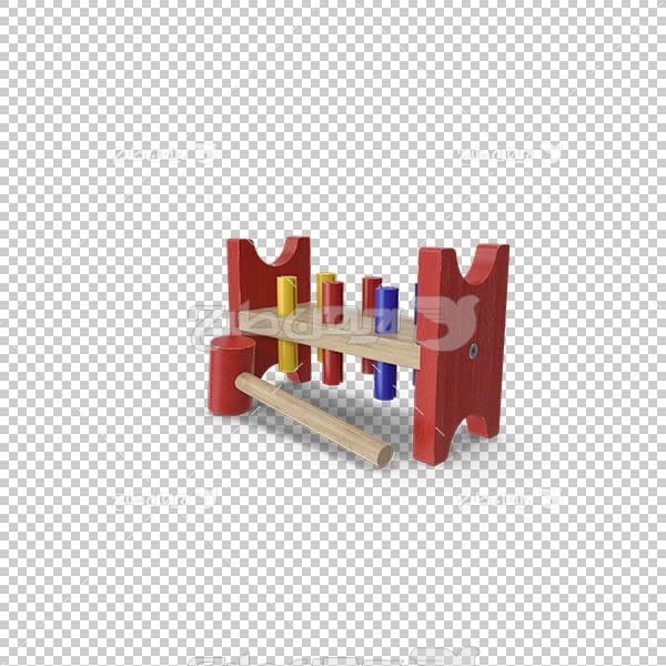 تصویر سه بعدی دوربری اسباب بازی چوبی