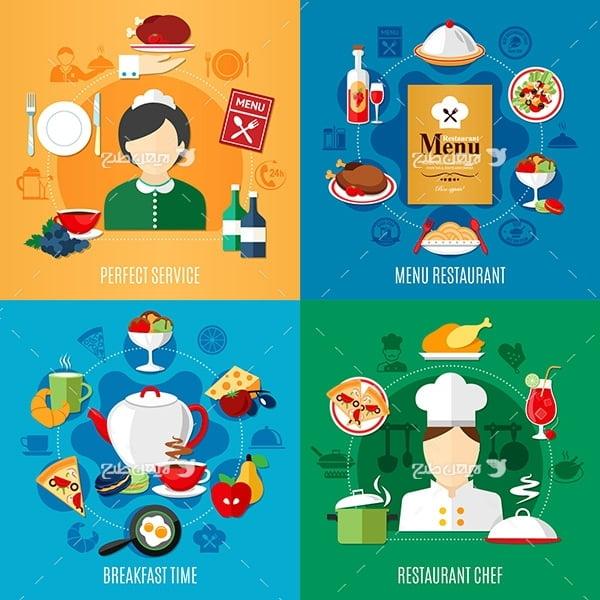 وکتور گرافیکی سرآشپز و مواد غذایی