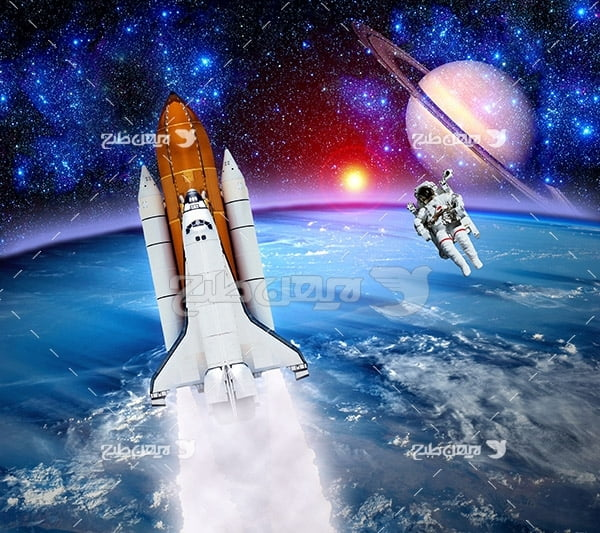 عکس موشک و فضانورد