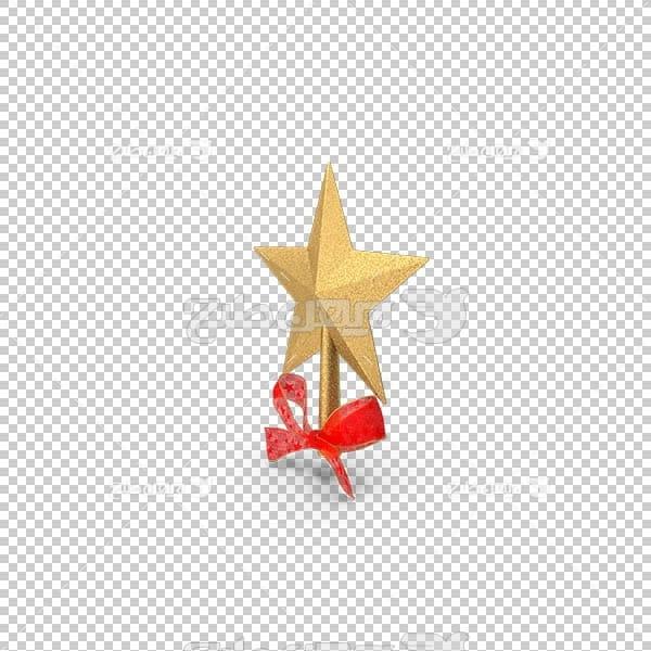 تصویر سه بعدی دوربری ستاره طلایی با روبان قرمز